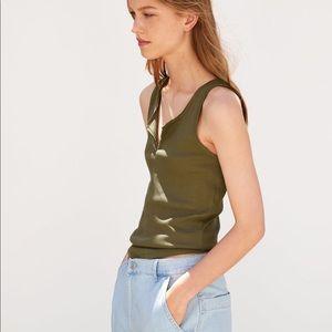 NWT Zara textured khaki top size small